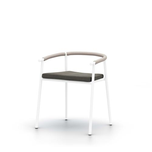 Charcoal Cover Chord Outdoor Dining Chair, White