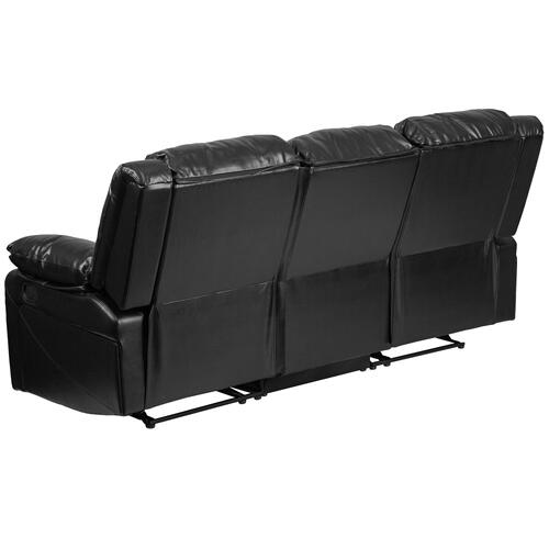Alamont Furniture - Black Leather Sofa with Two Built-In Recliners