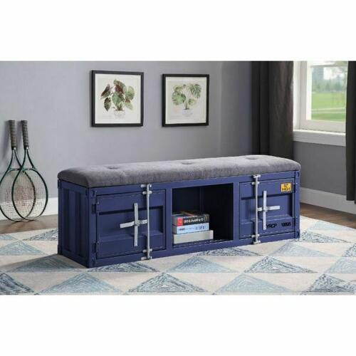 ACME Cargo Bench (Storage) - 35942 - Gray Fabric & Blue