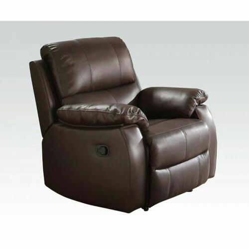 ACME Enoch Recliner - 52452 - Dark Brown Top Grain Leather Match
