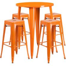 30'' Round Orange Metal Indoor-Outdoor Bar Table Set with 4 Square Seat Backless Stools