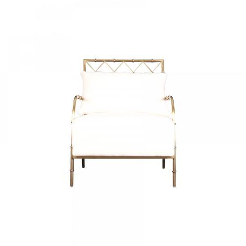 Gallery - Divani Casa Ignacio - Glam White Velvet & Gold Accent Chair