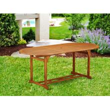 Oval Terrace Acacia solid wood Dining Table - Natural Oil Finish- Extension butterfly leaf