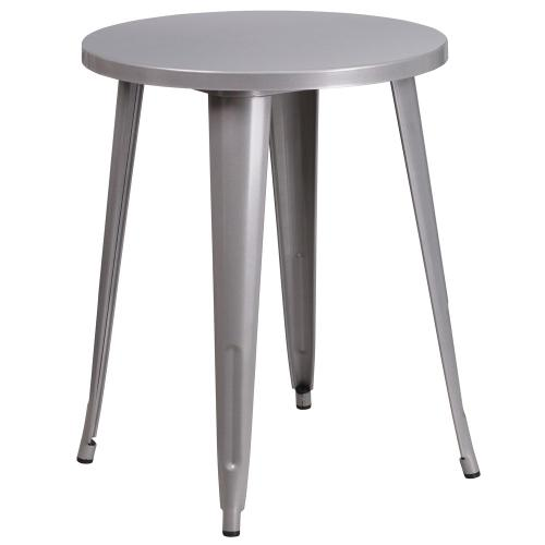24'' Round Silver Metal Indoor-Outdoor Table