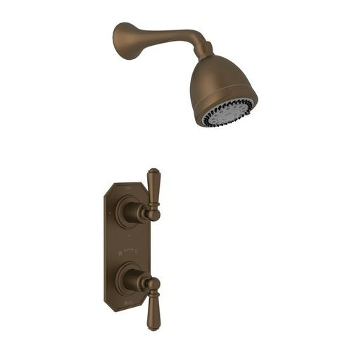 English Bronze Perrin & Rowe Edwardian Thermostatic Shower Package with Edwardian Metal Lever