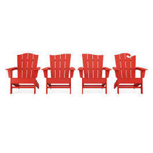 View Product - Wave Collection 4-Piece Adirondack Chair Set in Sunset Red
