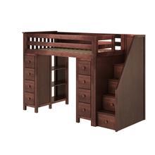 See Details - All in One Staircase Loft Bed Storage + Storage Espresso