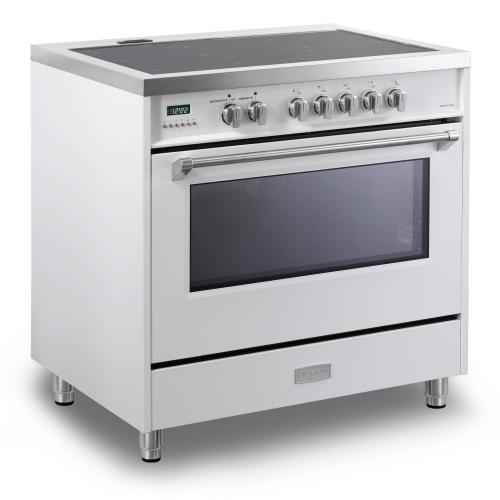 "White 36"" Designer Induction Range"