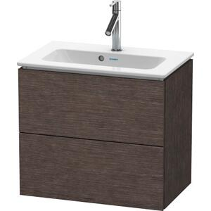 Vanity Unit Wall-mounted Compact, Brushed Dark Oak (real Wood Veneer)