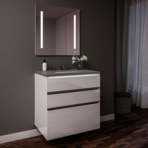 """Curated Cartesian 24"""" X 7-1/2"""" X 21"""" and 24"""" X 15"""" X 21"""" Three Drawer Vanity In White Glass With Tip Out Drawer, Slow-close Plumbing Drawer, Full Drawer, Night Light and Engineered Stone 25"""" Vanity Top In Stone Gray (silestone Expo Grey) Product Image"""