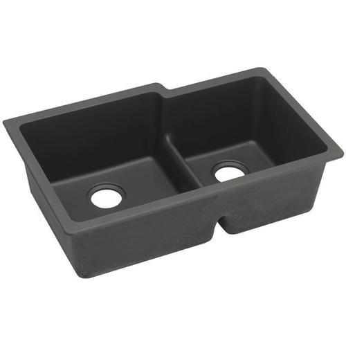 "Elkay Quartz Classic 33"" x 20-1/2"" x 9-1/2"", Offset 60/40 Double Bowl Undermount Sink with Aqua Divide, Black"