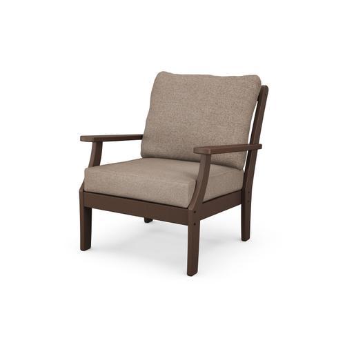 Mahogany & Spiced Burlap Braxton Deep Seating Chair
