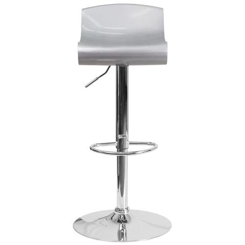 Contemporary Silver and White Adjustable Height Plastic Barstool with Chrome Base
