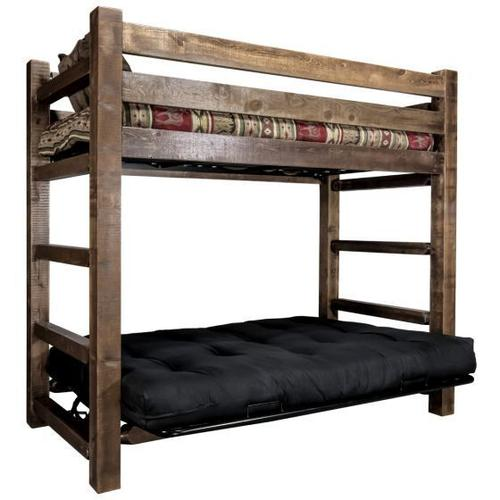Homestead Collection Twin Bunk Bed over Full Futon, Stain and Lacquer Finish