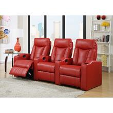 See Details - Camden Red Bonded Leather 3-Piece Reclining Theater Set