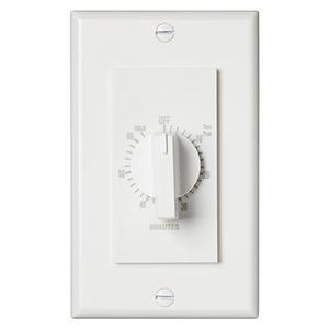 "60 Minute Time Control, with ""continuous on"" feature. White, 20 amps, 120V"