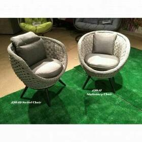 ACME Egil Patio Chair (Set-2) - 45041 - Fabric & Gray Wicker