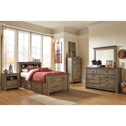 Trinell Twin Bed W/Under Bed Storage & Bookcase Headboard Brown