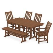 View Product - Vineyard 6-Piece Farmhouse Trestle Side Chair Dining Set with Bench in Teak