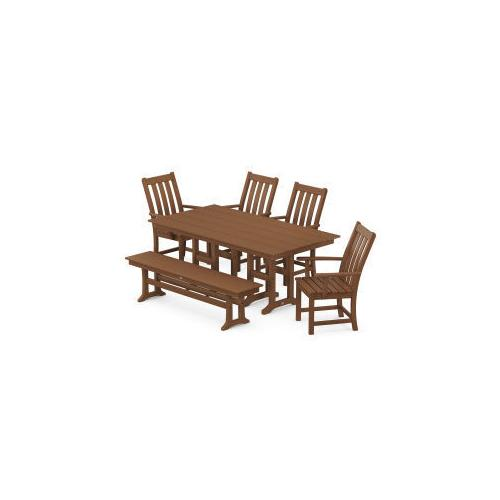 Polywood Furnishings - Vineyard 6-Piece Farmhouse Trestle Side Chair Dining Set with Bench in Teak