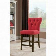 ACME Effie Counter Height Chair (Set-2) - 71525 - Red Linen & Walnut