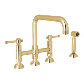 Campo Deck Mount U-Spout 3 Leg Bridge Faucet with Sidespray - Italian Brass with Industrial Metal Lever Handle