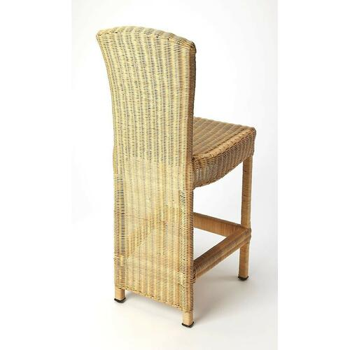 Make a dramatic staement to all who enter your home. This natural rattan counter stool lend a bit of weave and texture to your living space. The dramatic waterfall weave on the back side of the stool provides a dramatic design statement that your guests w