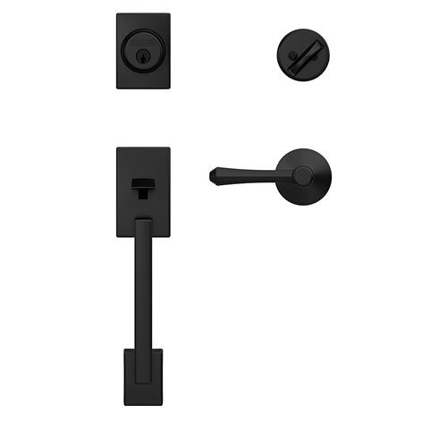 Custom Century Single Cylinder Handleset and Interior Dempsey Lever with Kinsler Trim - Matte Black