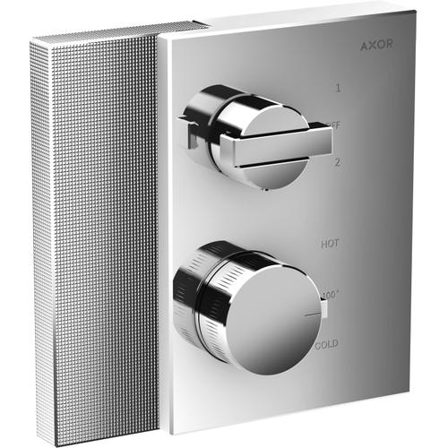 AXOR - Chrome Thermostatic Trim with Volume Control and Diverter - Diamond Cut