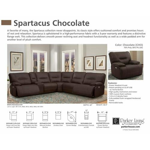 SPARTACUS - CHOCOLATE Power Left Arm Facing Recliner