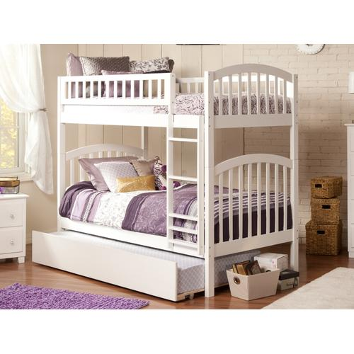Richland Bunk Bed Twin over Twin with Urban Trundle Bed in White