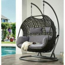 ACME Vasta Patio Swing Chair with Stand - 45084 - Fabric & Wicker