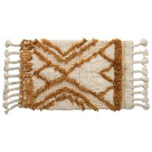 """Product Image - 24""""L x 40""""W Wool Tufted Patterned Rug w/ Braided Tassels, Natural & Mustard Color"""
