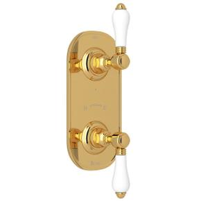 1/2 Inch Thermostatic and Diverter Control Trim - Italian Brass with White Porcelain Lever Handle