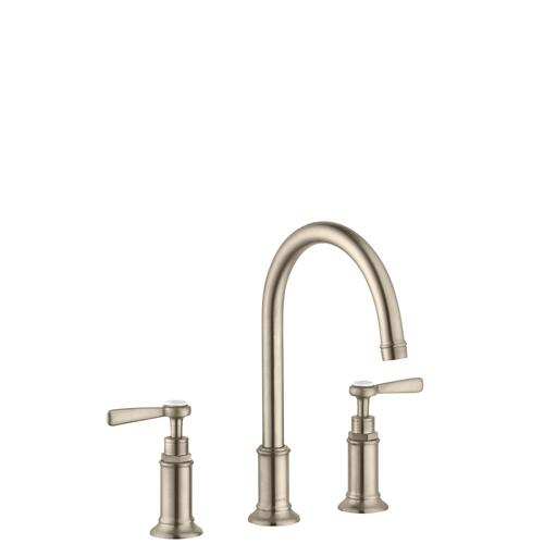 Brushed Nickel 3-hole basin mixer 180 with lever handles and pop-up waste set