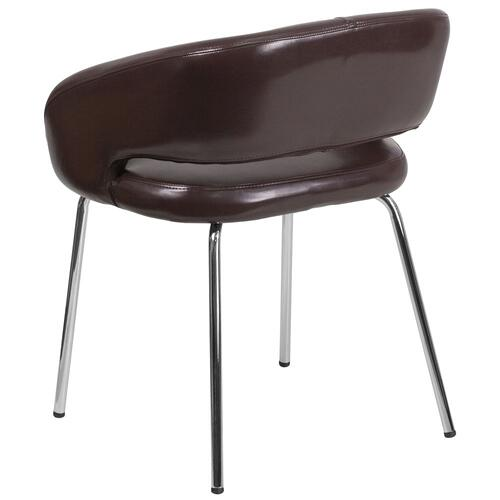 Contemporary Brown Leather Side Reception Chair