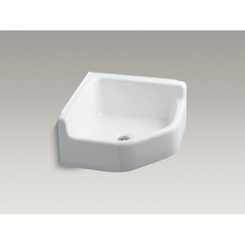 White Floor-mounted Corner Service Sink