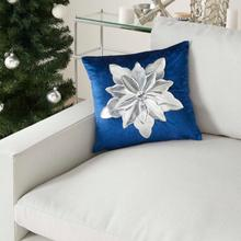 "Holiday Pillows L9966 Navy/silver 16"" X 16"" Throw Pillow"