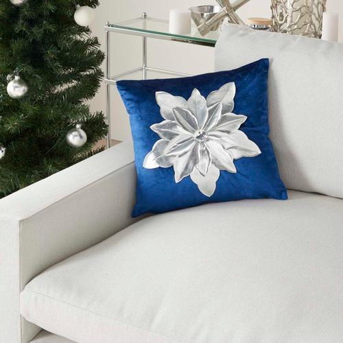 "Holiday Pillows L9966 Navy/silver 16"" X 16"" Throw Pillow"
