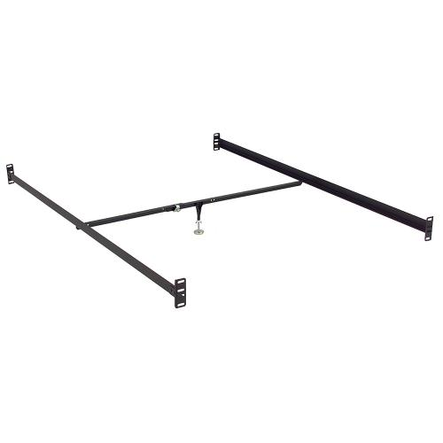 81-Inch 81-1B Black Bed Frame Side Rails with Bolt-On Brackets and Adjustable Center Support for Headboards and Footboards, Full XL - Queen