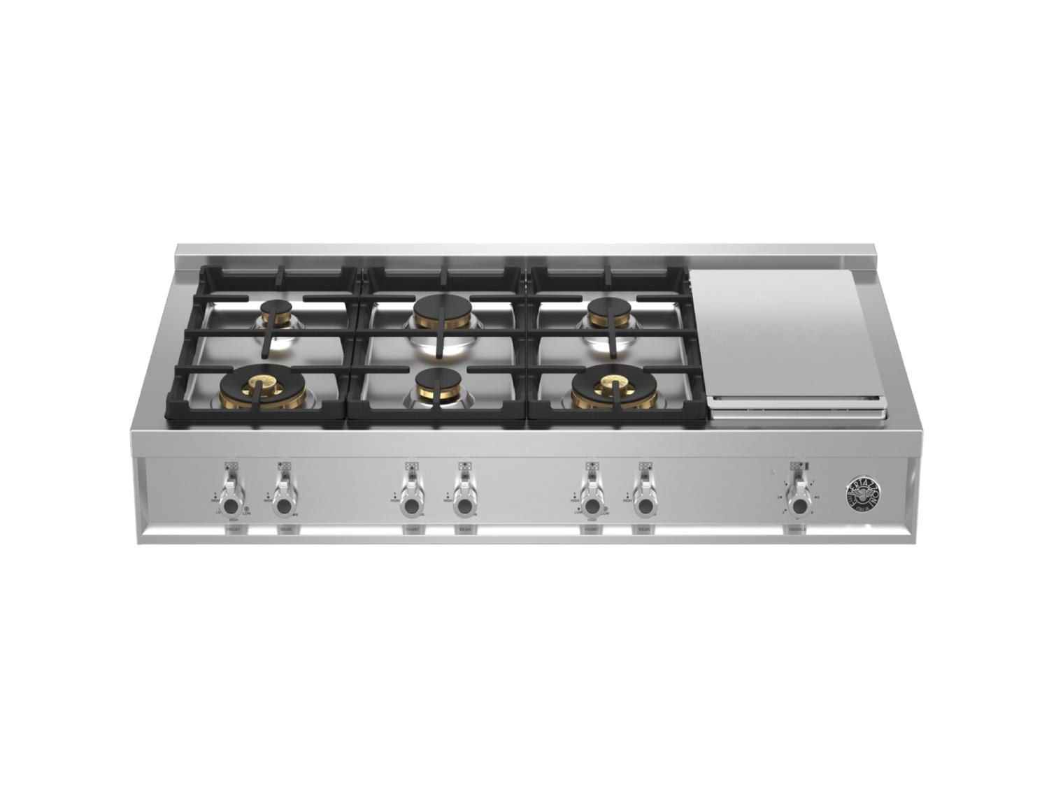 48 Gas Rangetop 6 brass burner + electric griddle Stainless Steel