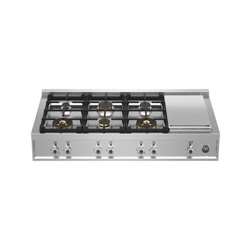 Bertazzoni - 48 Gas Rangetop 6 brass burner + electric griddle Stainless Steel