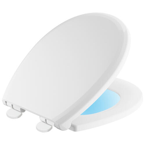 White Round Front Slow-Close / Quick-Release Nightlight Seat