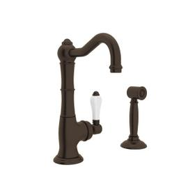 Cinquanta Single Hole Column Spout Kitchen Faucet with Sidespray - Tuscan Brass with White Porcelain Lever Handle