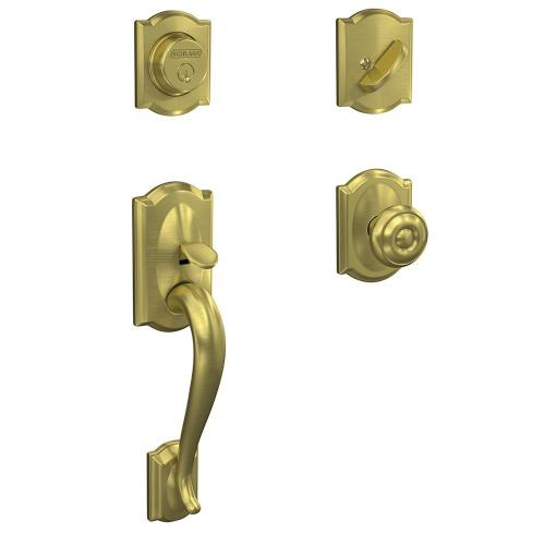Custom Camelot Inactive Handleset with Georgian Knob and Camelot Trim - Satin Brass