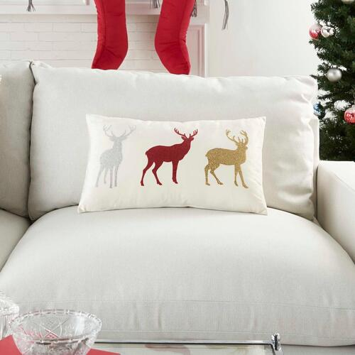 "Holiday Pillows L1909 Red 12"" X 21"" Throw Pillow"
