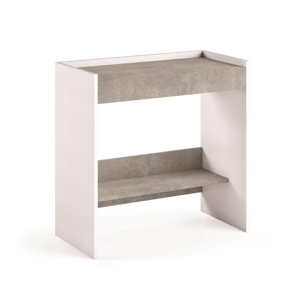 The Lulu Office Desk Part Of Our Kd Collection In White Wood Grain / Gray Melamine