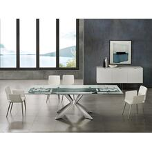 The Icon Extendable Motorized Dining Table In Clear Glass With Polished Stainless Steel Base