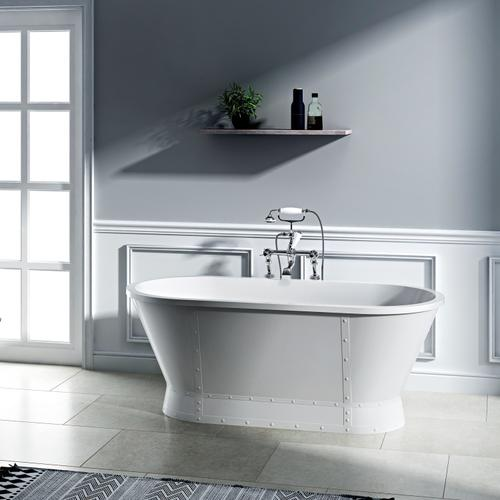 """Coventry 66"""" Acrylic Tub with Integrated Drain and Overflow - Brushed Nickel Drain and Overflow"""