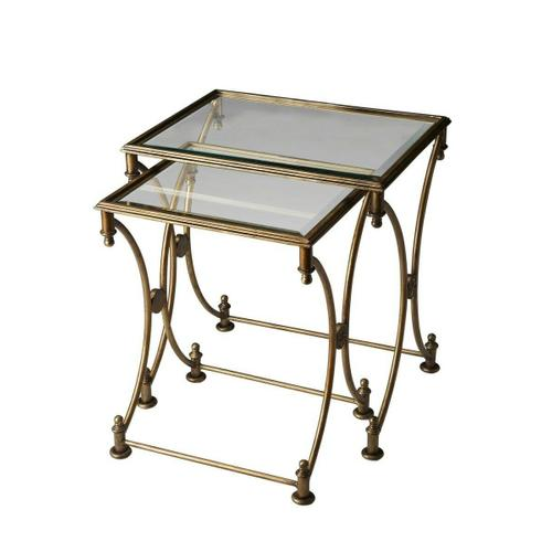 Butler Specialty Company - Nested tables are an excellent way to add serving space while saving it at the same time. That convenience, coupled with elegant styling, make these traditional nesting tables a great addition to a living room, bedroom or sitting area. Each table features an all metal frame construction with an antique gold finish and beveled edge tempered glass tops.